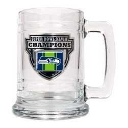 Great American Products, Inc. - NFL Seattle Seahawks Super Bowl XLVIII Champions 15-Ounce Glass Tankard - Have a Super Bowl celebration every time you use this Seattle Seahawks Super Bowl XLVIII Champions tankard. Fifteen-ounce capacity. Glass with a metal emblem.
