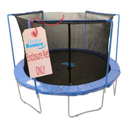 """Upper Bounce - Trampoline Enclosure Safety Net (7 Ft. Diameter) - Size: 7 Ft. Diameter. Upper Bounce Safety Net (for arches) Connects on top with sleeves and on bottom with clips. Creates a fun jumping experience without limiting visibility. Ensures maximum safety by connecting The Net between the pad and jumping mat. Highly durable Terylene-Quality Safety Net and easy to install. Dual closure entry with zipper and buckles. . Net Height 65"""". . Please make sure you are buying the right size safety enclosure net for your trampoline! Measure your frame from one outside edge vertically & horizontally to the other outside edge so you get the correct measurements.. . Warranty: 90 Day Warranty""""Upper Bounce"""" Trampoline Enclosure Net is a must to have to ensure your family's safety! Fits a Trampoline Frame with 3 Arches. Net features a perfect height which gives forth a 100% assurance of keeping a person safe inside while jumping. Now you can enjoy your jumping experience knowing you are fully protected with this high quality weather-proof enclosure net and protecting you from any accident. This Model: """"Sleeve on Arch"""" Safety Enclosure Net is especially designed to ensure maximum safety by its significant distance from the poles, and increased stability of the net by the sleeves being mostly attached to the arches."""