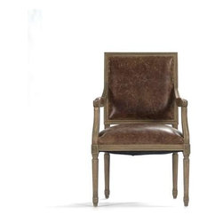 """Zentique - Louis Arm Chair by Zentique - The Louis Arm Chair is one of our most popular dining chairs. Featuring a square back with comfortable foam filling seats, this style of chair is upholstered in gorgeous grained leather with a burlap back and framed in Natural Oak wood. (ZEN) 25"""" wide x 21.5"""" deep x 40"""" high Seat: 19"""" high"""