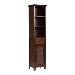 Elegant Home Fashions - Cane Linen Tower - The Cane Linen Tower from Elegant Home Fashions with one drawer and three open shelves offers a classic look that compliments any bathroom. The cabinet design offers ample storage. The cabinet features three open fixed shelves. The metal glider drawer allows for easy open and close operation. The cane paneled door and wooden knobs add a charming touch. This cabinet comes with assembly hardware.
