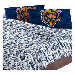 The Northwest Company - Chicago Bears Full Sheet Set Anthem Bed Sheets - Features: