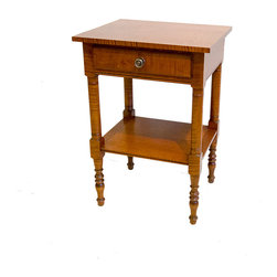 "Eldred Wheeler - Sheraton One-Drawer Night Stand with shelf in Tiger Maple - Nightstands with simple turned legs were made in considerable quantities throughout New England during the late 18th and early 19th Century. The Eldred Wheler handcrafted Sheraton Nightstand features a single beaded drawer and a rare ""breadboard"" shelf"