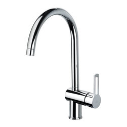 WS Bath Collections - One Hole Kitchen Faucet - Contemporary style. Designer high end quality bathroom fittings. Projection: 9.4. Swivel spout 180 degrees. Warranty: One year. Made from solid brass base. Polished chrome color. Made in Italy. No assembly required. Spout height: 9.8 in.. Overall: 9.4 in. W x 14.6 in. H (7 lbs.)