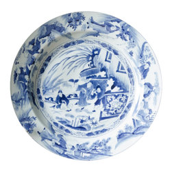 Marco Polo Imports - Large Kangxi Blue And White Plate - Exotic large plate lavishly decorated with authentic blue hand-painted artwork.