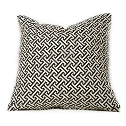 Society Social - Oh La La Links Pillow, Noir - This small-scale print makes a perfect addition to a pillow collection. Even if you mix out your pillows often, in noir or berry, two of these would make a great permanent base to plan other patterns around.