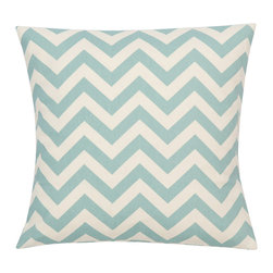 Look Here Jane, LLC - Chevron Village Blue Natural Pillow Cover - PILLOW COVER