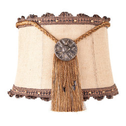 Brandi Renee Designs - All Lit Up Outback 1 Lamp Shade - Our original All Lit Up Outback lampshade pairs rustic burlap with a gold medallion fringed centerpieces and bronze scalloped ribbon along the shade's top and bottom. This dramatic statement shade is perfect for the living room or home office. Like every BRDesign lampshade, our All Lit Up Outback 1 lampshade is handcrafted from the finest quality materials.