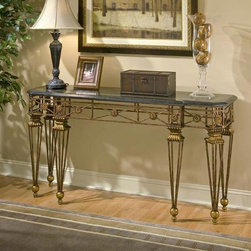 Butler - Console Table in Metal with Gold Finish Base - Drama and style are defined in this classy console table on a metal frame with carved resin components. Elegance abounds in the black fossil stone veneer top with snakeskin fossil stone veneer and brass inset. Complemented with six detailed legs.
