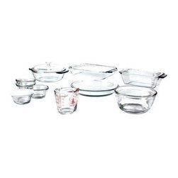 Anchor Hocking - 15-Piece Bake Set - 15 Pc. Bake Set (2 qt. Bake Dish 1.5 qt. Casserole/Glass Cover 1.5 qt. Loaf 1.0 qt. Mixing Bowl 9 in. Pie 8 oz. Measuring Cup 4 x 6 oz. Custard Cups with Plastic Lids)