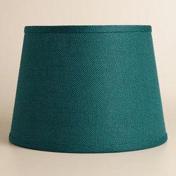 Teal Burlap Table Lamp Shade -