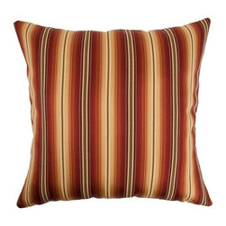 """The Pillow Collection - Bailey Stripes Pillow Sunset 18"""" x 18"""" - The warm colors in red, orange, brown and yellow will surely remind you of the Sunset. This decorative pillow is a perfect accent piece for your patio. This throw pillow is made of 46% Polyester and 54% Cotton. Hidden zipper closure for easy cover removal.  Knife edge finish on all four sides.  Reversible pillow with the same fabric on the back side.  Spot cleaning suggested."""