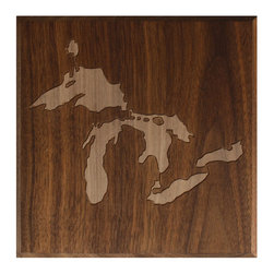 DMWR - Great Lakes Wall Art - Hand carved in solid walnut, this tribute to the Great Lakes has a serene natural aesthetic that captures the vibe of the rural north states. It'll fit right in with your lodge style decor, or add a woodsy touch to your modern abode.