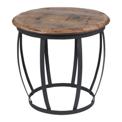 The Old Wood Co. - Bourbon Table - The nation's only native spirit, Kentucky bourbon has been produced in the United States since the late 1700s. Made from authentic Kentucky Bourbon  barrel heads, these unique side tables/stools are a reminder of a historical American industry still alive today.