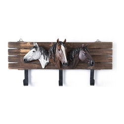 PS - 16.3 Inch Large Wall Key Holder with three Horse Head Figures - This gorgeous 16.3 Inch Large Wall Key Holder with three Horse Head Figures has the finest details and highest quality you will find anywhere! 16.3 Inch Large Wall Key Holder with three Horse Head Figures is truly remarkable.
