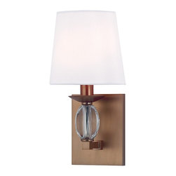 Hudson Valley Lighting - Hudson Valley Lighting Cameron Transitional Wall Sconce X-BB-1164 - Like jewelry for your walls, Cameron's crystal gems create spectacular decorative accents. The eye-catching oblong crystal refracts light across a brilliant array of cut facets. Rounded fabric shades add a smooth finishing touch to these exquisitely designed sconces.