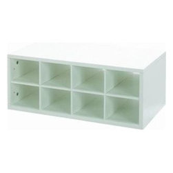 "SCHULTE DISTINCTIVE STORAGE - 7315142411 WH DBLHNG CUBBY - DOUBLE HANG O-BOX CUBBY  Use to organize shoes in the closet or for -  storing wine or soda in the kitchen pantry  Dividers create 12 separate storage cubbies  Constructed of 5/8"" furniture grad Melamine  Installs easily with FreedomRail uprights  Adjusts easily without tools  24"" wide x 14"" deep x 9-1/2"" high      7315142411 WH DBLHNG CUBBY    COLOR:White"