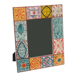 Sitara Collections - Hand-Painted Wood Photo Frame with Motifs (India) - The Womders of the Natural World Have inspired the Motifs om this Frame, Which are Hand-Painted in a Color Palette Ranging From Sky Blue to Vivid Fuchsia. From Babys First Snapshot to a Vacatiom Memory You Want to Keep Fromt and Center, our Mango Wood Frame is Ideal for all of Lifes Moments. Colors: Multi-Colored Material: Mango Wood and Glass Size of Photo: 5X7 inches Frame: 11 inches High X 9 inches Wide X 0.5 inches Deep Glass Pane included Can Display Horizomtal and Vertical Photos.