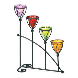 """Koehler Home Decor - Koehler Home Decor Jewel Toned Candleholder - A quartet of cone-shaped cups in sumptuous amber, amethyst, emerald and ruby shades casts a hypnotic halo of colored candlelight. The stylish stair-step wrought iron holder cradles each votive in a cage of graceful curves for a breathtaking display. Metal with glass cups. 11""""x 4.62""""x 12.75"""" high. Candles not included.Material: Metal with glass cups. Size: 11""""x 4.62""""x 12.75"""" high."""