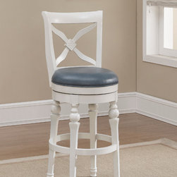 "American Heritage - American Heritage Livingston Bar Height Stool in Cornflower - The traditional livingston stool is built using mortise and tenon construction for ultimate durability. it features a full ball-bearing 360 degree swivel, adjustable leg levelers, and an integrated back support system. this stool only requires swivel attachment and comes complete with a 1 year warranty - 111204.  Product features: Finished in Antique White; Cornflower Bonded Leather Cushion; Full-Bearing 360� Swivel; 3"" Plush Cushion; Webbed Seating for Improved Comfort; Built Using Mortise and Tenon Construction Principles; Adjustable Leg Levelers; 1 Year Warranty. Product includes: . Bar Height Stool in Cornflower in the Livingston collection by American Heritage."