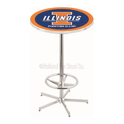 Holland Bar Stool - Holland Bar Stool L216 - 42 Inch Chrome Illinois Pub Table - L216 - 42 Inch Chrome Illinois Pub Table  belongs to College Collection by Holland Bar Stool Made for the ultimate sports fan, impress your buddies with this knockout from Holland Bar Stool. This L216 Illinois table with retro inspried base provides a quality piece to for your Man Cave. You can't find a higher quality logo table on the market. The plating grade steel used to build the frame ensures it will withstand the abuse of the rowdiest of friends for years to come. The structure is triple chrome plated to ensure a rich, sleek, long lasting finish. If you're finishing your bar or game room, do it right with a table from Holland Bar Stool.  Pub Table (1)