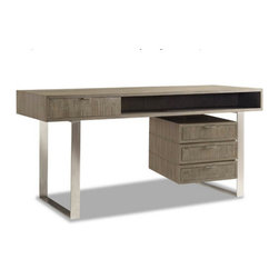 Brownstone Furniture Palmer Desk - The Palmer collection is a unique assortment of richly grained teak tables with a sandblasted, driftwood gray finish. Each piece of the collection is carefully designed with updated silhouettes that embody subtle refinement.