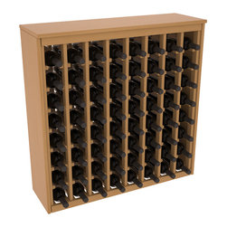 Wine Racks America - 64 Bottle Deluxe Wine Rack in Ponderosa Pine, Oak Stain + Satin Finish - Styled to appear as wine rack furniture, this wooden wine rack will match existing decor while storing 64 bottles of wine. Designed to look like a freestanding wine cabinet, the solid top and sides promote the cool and dark storage area necessary for aging wine properly. Your satisfaction and our racks are guaranteed.