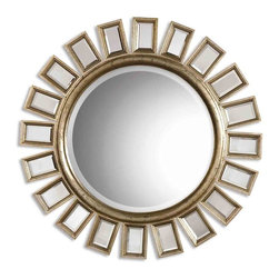 Contemporary Sun Beveled Mirror - *This round, beveled mirror has a wood frame and is accented by several individual beveled mirrors.  The frame finish is distressed silver leaf with light antiquing.