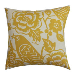 PILLOW COLLECTION INC - Campeche Yellow Floral Down Filled Throw Pillow - Bring an extraordinary statement piece to your living space with this plush throw pillow. This 100-percent cotton-made accent piece feature an interesting floral pattern in shades of yellow and white.
