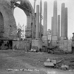 St. John's Cathedral, Under Construction Print - St. John's Cathedral, New York, NY, photographed by the Bain News Servcie in 1905 on 8x10 glass plate negative.
