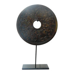 Golden Lotus - Chinese Round Stone Disc Fengshui Display Decor Hcs580-2 - This is a stone carved round shape decoration display on a metal stand. Round symbolizes complete, smooth and harmony. Stone is one of the five element - earth. The pattern is 4 Chinese celestial mythical animals - four directions - East, South, West and North.