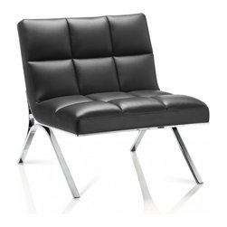 Creative Furniture - Renata Black Eco-Leather Chair - Created to allow you to sit and luxuriate in fashionable comfort and style, the Renata Black Eco-Leather Chair features a sleek European design covered in a luxurious black colored soft eco-leather.    Features: