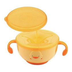 """Piyo Piyo USA - Keep-N-Trap - This unique bowl AKA """"Keep-N-Trap"""" has a perforated lid that allows your child to eat snacks with less mess."""