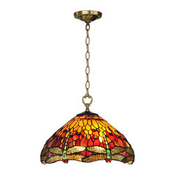 """Dale Tiffany - Dale Tiffany Reves Dragonfly Traditional Pendant Light X-07221HT - Simply ablaze with color, our Reves dragonfly hanging pendant will cast a warm glow about the room when the fixture is illuminated. A background of vivid red, orange and yellow art glass is accented with art glass jewels in complementary colors for extra sparkle and texture. A row of iridescent green and yellow dragonflies run along the bottom edge of the shade, complete with red art glass jewel """"eyes."""" The pendant hangs from a metal ceiling canopy, chain and vase cap all finished in antique brass. Ideal over an informal eating area or as a dramatic entryway fixture, Reves bold colors and style will command attention wherever you choose to display it in your home or office."""