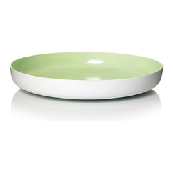 Inova Team -Contemporary Melamine Bowl, Green - The scientifically formulated Pantone-colored interior of the bowl pops against a stark white body. Made of durable melamine, this shallow, sculptural vessel can be used as a snazzy serving bowl, or a stylish centerpiece.