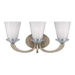 Savoy House - Savoy House 8-1557-3 3 Light Bathroom Fixture with White and Clear Glass Shades - Savoy House 8-1557-3 Forum 3 Light Bathroom Fixture with White and Clear Glass ShadesThis eye-catching collection has an open, clean design with a lustrous finish and polished K9 crystal accents.Features: