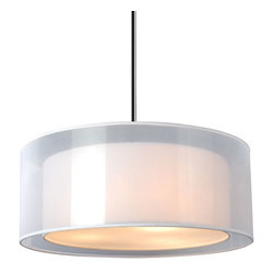 "IFN Modern - Penter Round Light Pendant - The light consists of a two tier shade consisting of an organza outer shade and an inner shade finished in a white linen. The metal is finished in a stunning brushed nickel. â— Metal, Organza, Acrylicâ— Brushed Nickel & White Finishâ— Incandescent 60 Watt Bulb (Not Included)â— 3lbsâ— 48"" Cordâ— 110 Volts"