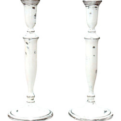 "Consigned French Painted Distressed Silver Candlesticks Pair - A pair of lovely French Regency custom styled hand painted and distressed vintage silver plated candlesticks . This set was painted and distressed by curator, Alaina, in her Atlanta studio. These were painted in multiple layered whites and artfully hand distressed and sealed.  4.5"" W x 4.5"" D x 11.5"" H"