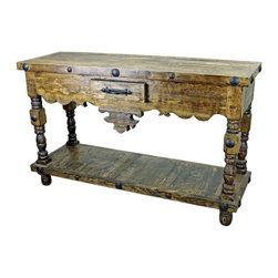 Old World Console Table With Iron Accents and Turned Legs - This Old World Console Table With Iron Accents Turned Legs is constructed of solid mesquite wood from Mexico. No veneers are used, only solid planks of wood with a polyurethane type finish topped with a soft hand-rubbed wax. This finish makes this piece a perfect accent to any Spanish Colonial, Hacienda Style or Tuscan decor.  Notice the hand forged iron accents. Beautiful! Perfect as a Rustic Entry Way Table as well. Please note that long wait times could be possible if this item is not in stock at the time of order.
