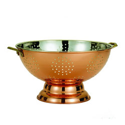 "Old Dutch International - 12"" Dia. Décor Copper Footed Colander/Centerpiece - If you're a pasta person (and who isn't?), add this copper pedestal colander to your kitchen. It takes care of business and when not in use adds a distinctive touch simply sitting out on display."