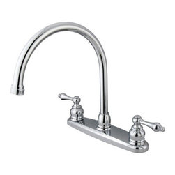 Kingston Brass - Double Handle Goose Neck Kitchen Faucet - This double handle kitchen faucet personifies the elegance of the early traditional American design. The faucet features an 8in. centerset platform with a high goose neck spout that rotates 360 degrees for accessibility and convenience. The body of the faucet is constructed in solid brass for durability and long-lasting usage with the finish made from polished chrome for corrosion and tarnishing resistance. The handle levers feature a 1/4-turn on/off mechanism for controlling water volume and temperature. The faucet operates with a washerless disc valve for drip-free functionality and has a 2.2 GPM (8.3 LPM) and a 60 PSI maximum rate. An integrated removable aerator is fitted beneath the spout's head piece for conserving water flow. A 10-year limited warranty is provided to the original customer.