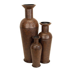 Aspire - Textured Floor Vases - Set of 3 - This handsome set of floor vases feature a unique textured design in the metal and a neutral antique brown finish. Metal. Color/Finish: Brown. 50 in. H x 16 in. W x 16 in. D. 35 in. H x 12 in. W x 12 in. D. 26 in. H x 8 in. W x 8 in. D. Weight: 29 lbs.