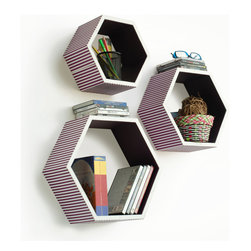 Blancho Bedding - Love of PurpleHexagon Leather Wall Shelf / Bookshelf / Floating Shelf Set of 3 - These beautifully Hexagonal Shaped Wall Shelves display the art of woodworking and add a refreshing element to your home. Versatile in design, these leather wall shelves come in various colors and patterns. These elegant pieces of wall decor can be used for various purposes. It is ideal for displaying keepsakes, books, CDs, photo frames and so much more. Install as shown or you may separate the shelves to create a layout that suits your taste and your style. They spice up your home's decor, and create a multifunctional storage unit for all around your home. Each box serves as a practical shelf, as well as a great wall decoration.