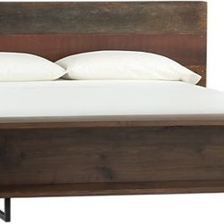 Atwood Bed - This great natural wood bed has storage at the end: a shelf and a bench. I love that this frame is manly enough to go in a guy's room too.