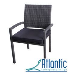 Atlantic - Liberty Wicker Grey Outdoor Stacking Arm Chair (Set of 4) - Make the most of your outside space with this set of Liberty outdoor stacking chairs. Easy to store when not in use,these modern wicker chairs are made from woven PVC on an aluminium frame and feature comfortable,water-repellent cushions.