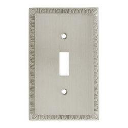 Egg & Dart Toggle Switch Plate Cover - A refined egg & dart border adds a neo-classical touch to our understated toggle switch cover. Pressure forged for exceptional detail, this heavy-duty brass plate will last a lifetime. Choose from three classic finishes.