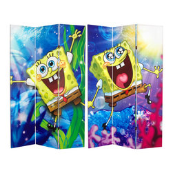 Oriental Furniture - 6 ft. Tall Double Sided Sponge Bob Square Pants Canvas Room Divider - High quality color prints from original cartoon animation graphics of the beloved film and television superstar SpongeBob Square Pants, on a full size furniture grade folding screen. Great privacy screen, partition, portable window or door shade, with the excitement and enthusiasm of Bikini Bottom's most ecstatic resident.