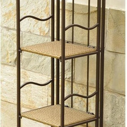 International Caravan - 4-Tier Plant Stand - Steel frame for maximum strength and durability. Folds for easy storage. Weather proof against water and harsh weather. Made from wicker resin. Honey pecan and matte brown finish. No assembly required. 13 in. W x 12 in. D x 55 in. H (17 lbs.)The Valencia wicker resin plant shelf is beautiful decorative item for outdoor venues.