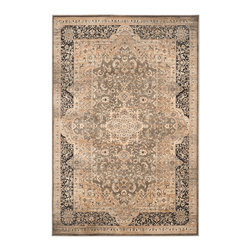 """Safavieh - Lucille Vintage Inspired Rug, Taupe / Black 5'1"""" X 7'7"""" - What's old is new again in Safavieh's Vintage Collection of rugs inspired by the trend to recycling old carpets and over-dyeing them in brilliant colors to camouflage stains and flaws.  Each rug is power loomed in Belgium of 100 percent organic viscose yarn in a low cut pile to recreate the threadbare appearance of worn vintage carpets. Yarns are deliberately dyed unevenly to add old-world character to the collection's classic Persian and Turkish designs."""
