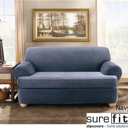 Sure Fit - Sure Fit Stretch Stripe 2-piece T-cushion Sofa Slipcover - Designed to fit a T-cushion sofa,this two-piece sofa slipcover offers style and protection in one easy-to-use package. Perfect for updating an old sofa or for protecting a new one,it is machine washable and comes in several colors.