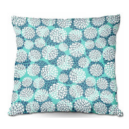 DiaNoche Designs - Pillow Woven Poplin from DiaNoche Designs by Pom Graphic Design - Aqua Floral Bl - Toss this decorative pillow on any bed, sofa or chair, and add personality to your chic and stylish decor. Lay your head against your new art and relax! Made of woven Poly-Poplin.  Includes a cushy supportive pillow insert, zipped inside. Dye Sublimation printing adheres the ink to the material for long life and durability. Double Sided Print, Machine Washable, Product may vary slightly from image.